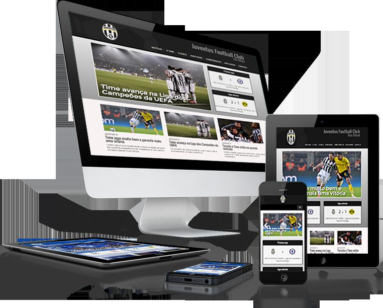 Exemplo de site de time de futebol mobile