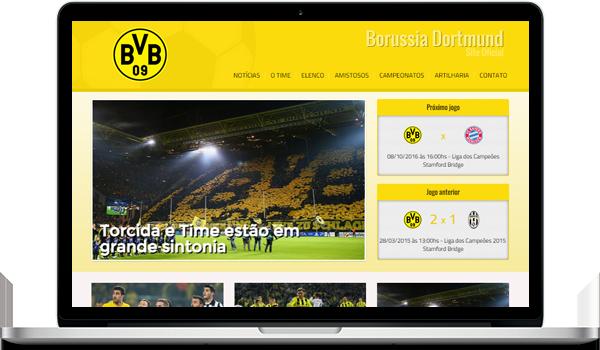 Template amarelo criar site para time de futebol