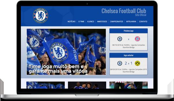 Template azul criar site para time de futebol