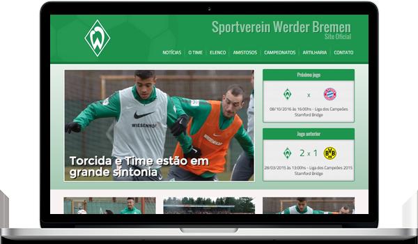 Template verde criar site para time de futebol